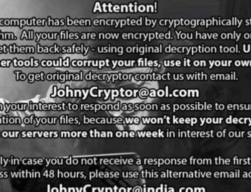 Beware of the JohnyCryptor@aol.com Ransomware Virus